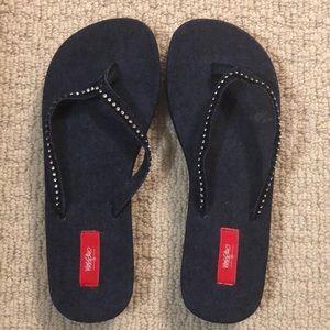 Mossimo denim jean sandals with rhinestones
